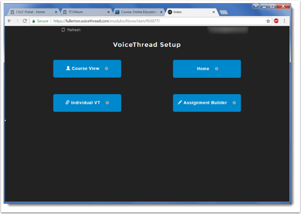 voicethread setup page displays