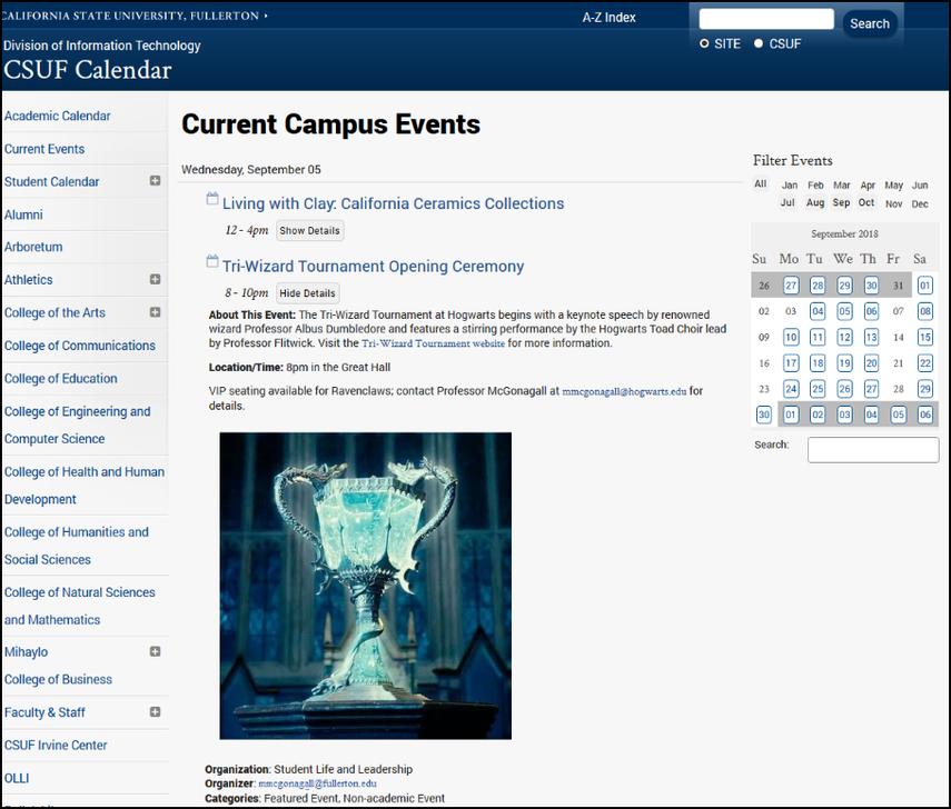 Event on published calendar