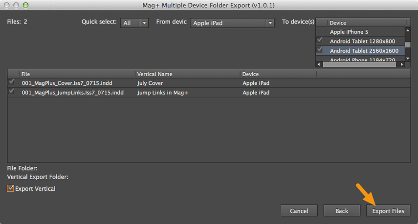 """Click on the """"Export Files"""" button to begin the conversion."""