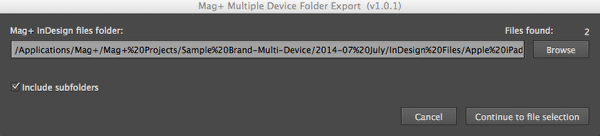 In the dialog that appears, Browse to the folder which contains your InDesign source documents.