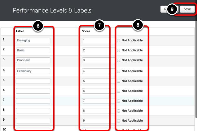 Step 3: Edit/Remove/Add Performance Levels