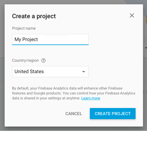 Enter your Project name and select your region.