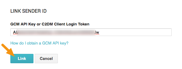 """In the window that displays, paste the """"API Key"""" into the """"FCM API Key"""" field and click the """"Link"""" button."""