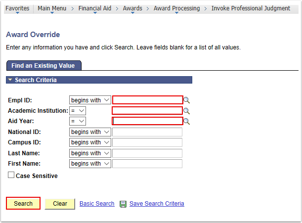 Award Override Search Page