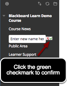 Image of the link being renamed with a red X and a green checkmark, with instruction to enter a new name and click the green checkmark to confirm.