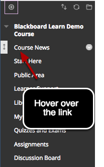 Image of the course menu with instructions indicating to hover over the link you wish to move