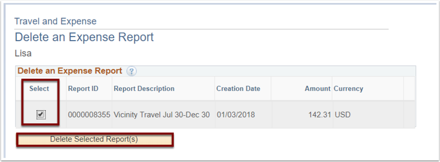Delete an Expense Report page