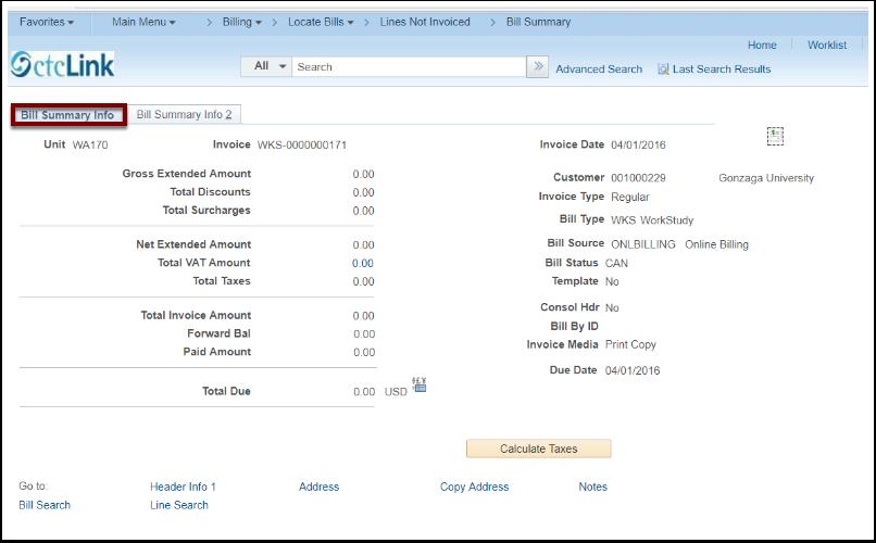 Bill Summary Info tab