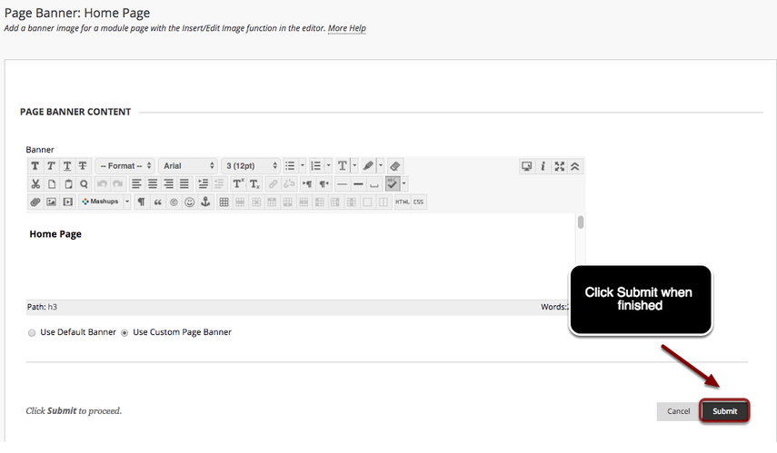 Image of the Edit Page Banner screen with the submit button highlighed in red with instructions to click Submit when finished.