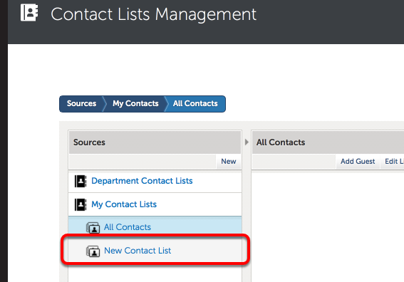 Step 3: New Contact List Appears