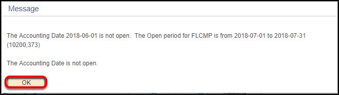 Accounting date not open error