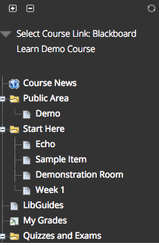 Image of the Select Course Link screen showing a list of course links.