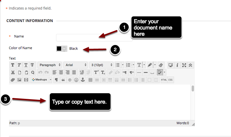 Image fo the Create Item Screen under #1 Content Information with the following annotations: 1.Name: Enter the name of the document in the space marked Name.2.Color of Name: Select a color to use for the item name.3.Text: Type or paste your text into Blackboard's Text editor. You can then use the formatting toolbars to format the text.