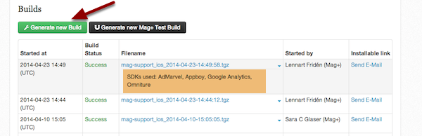 """In Apps > iOS, click on """"Generate New Build."""""""