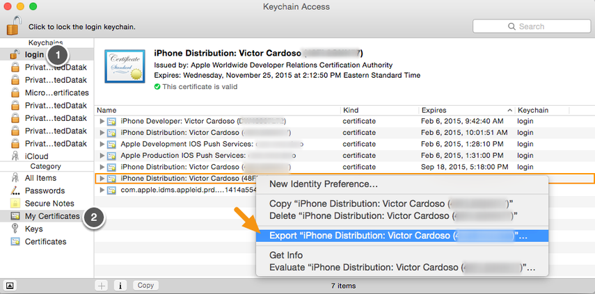 "On your Mac, launch Keychain Access, select the certificate entry and right-click on it to select ""Export."""