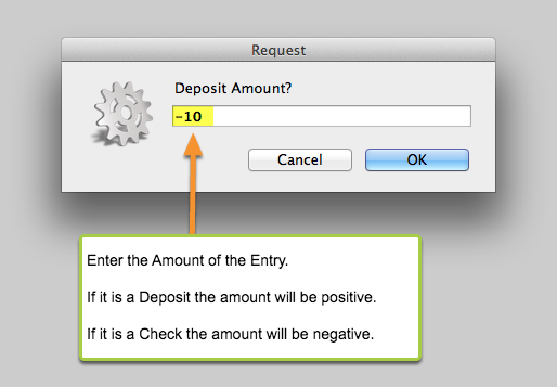 Enter the Deposit (or check) Amount.