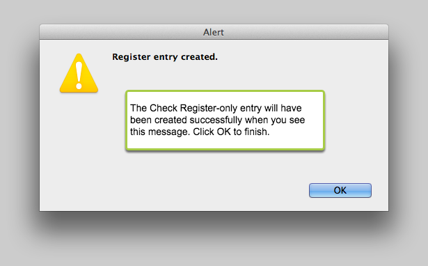 Register entry created.