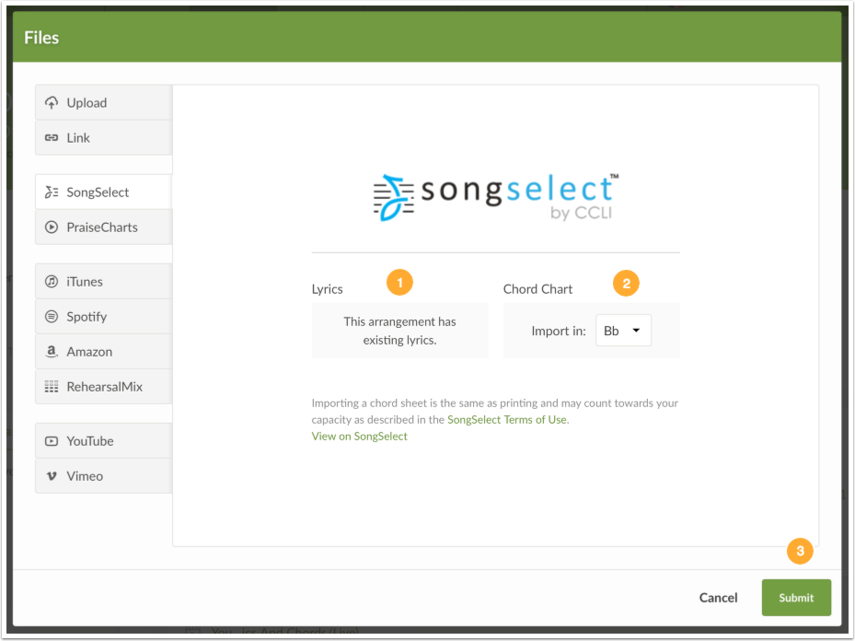 Import from SongSelect