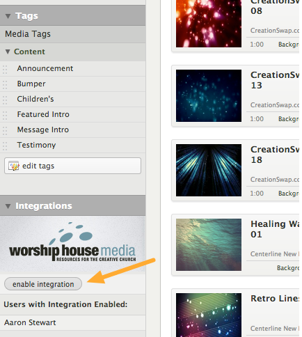 From the Media tab, click the enable integration button