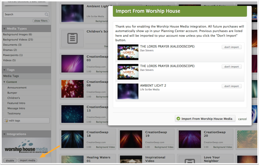 Import from WorshipHouse