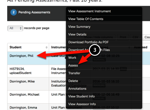 Step 2: Locate the Pending Assessment