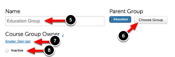 Step 3: Enter Basic Course Group Information