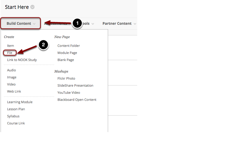 Image of the Build Content Menu with Build Content highlighted with a #1 and File highlghted with a #2