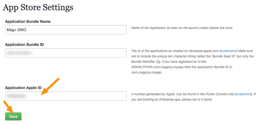 "Enter the Apple ID you copied into the field labeled ""Application Apple ID"" and click on ""Save."""
