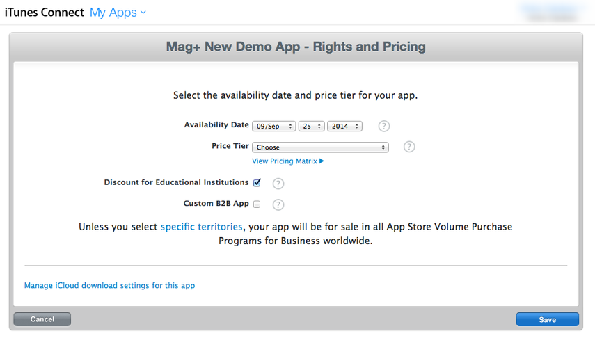 "Click on the ""Pricing"" tab to set app availability and price."