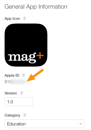 "Locate and copy the ""Apple ID"" assigned to your new app."