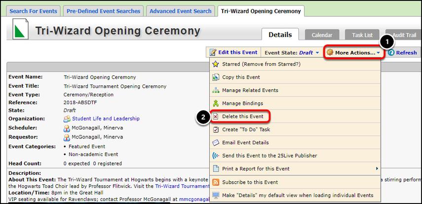 Event details screen