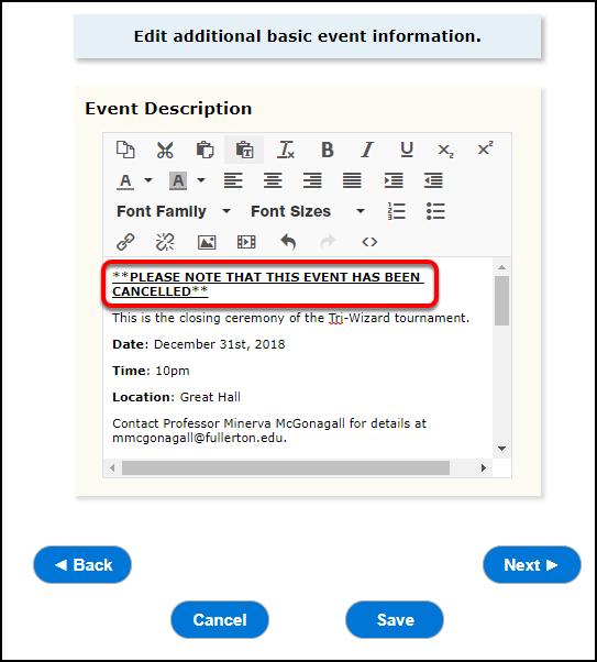 Edit event description