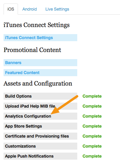 "Under the iOS or Android tab, click on the ""Analytics Configuration"" link."