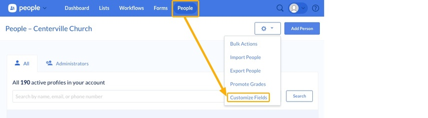 customize fields button