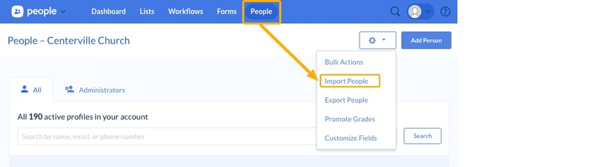 import people button