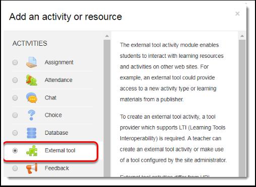 External tool is selected.