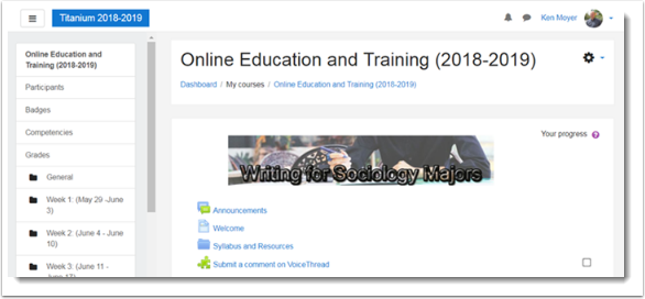 course main page is displayed
