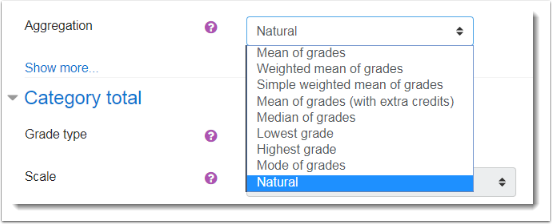Select a method of aggregating the grade items you plan to put in this category.