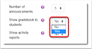 Select Yes from the Show gradebook to students.