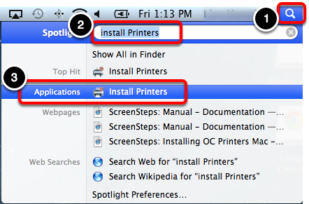 Open the Install Printers App