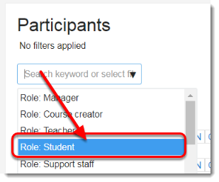Under Current role, select Student from the drop down menu.
