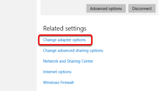 "Click ""Change Your Adapter Settings"""