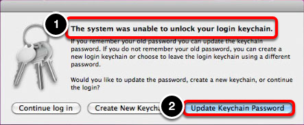 "Click ""Update Keychain Password"""