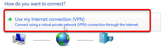 "Click ""Use my Internet connection (VPN)"""