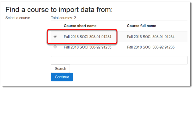 Select the name of the course from which you want to import content.