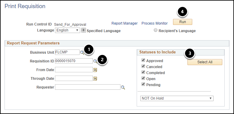Print Requisition screen