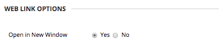 Image of the section labeled web link options with the option labeled Open in New Window, with selectors for Yes or No.