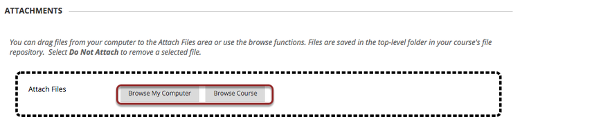 Image of the Attachments section with the Browse my Computer and Browse Course buttons highlighted by a red circle