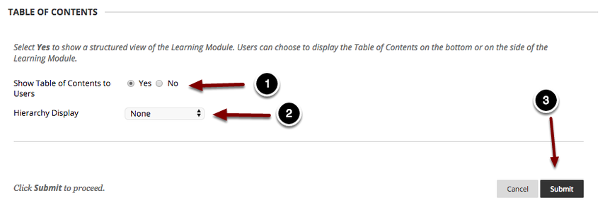 Image of the section labeled Table of Contents with the following annotations: 1.Show Table of Contents to Users: Select Yes to display the table of contents to students.  This is the recommended setting.2.Hierarchy Display: Use the dropdown menu to select the desired method to display the page hierarchy in the table of contents.