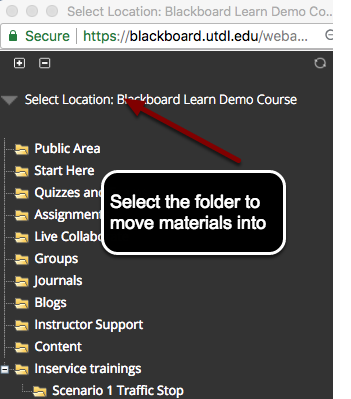 Image of the select location screen that shows the destination course, a list of folders, and instructions for the user to select the folder to move materials into.